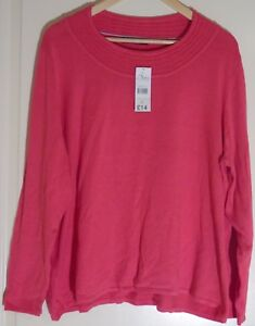 Bonmarche-Collection-Pink-Jumper-with-Pattern-around-Neck-Size-UK-XL