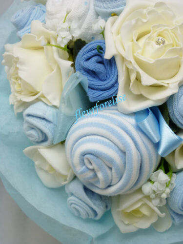 ANGEL CHARM 0-3m PERSONALISED NEW BABY CLOTHES BOUQUET//NAPPY CAKE GIFT
