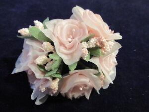 Vintage-Millinery-Flower-6pc-Lot-1-1-2-034-ea-Lt-Pink-for-Hat-Wedding-or-Hair-K68