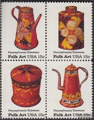 Usa 1378-1381 Viererblock (kompl.ausg.) Postfrisch 1979 Amerikanische Volkskunst