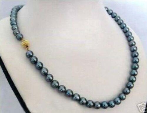 "8 mm black Akoya Shell Pearl Cultured Collier 18/"" PN289 Jolie"