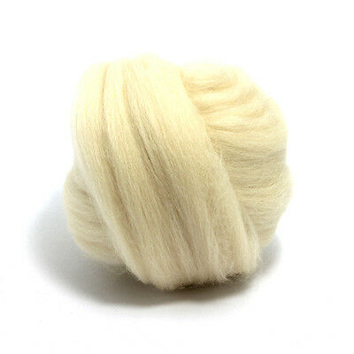 100g DYED MERINO WOOL TOP LIGHTNING WHITE DREADS 64/'s SPINNING FELTING ROVING