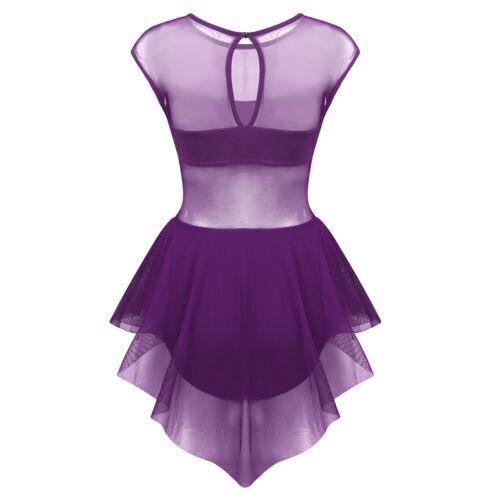 New Womens Lyrical Gymnastics Ballet Leotard Dancewear Tutu Skirt Dance Costume