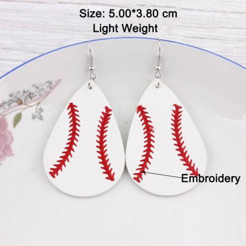 Broderie Baseball Cuir Boucles d/'oreilles femmes Needlework Softball Sports Bijoux