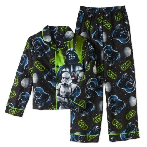 Star Wars 2 PC Long Sleeve Button Down Pajama Set Boy Size 8