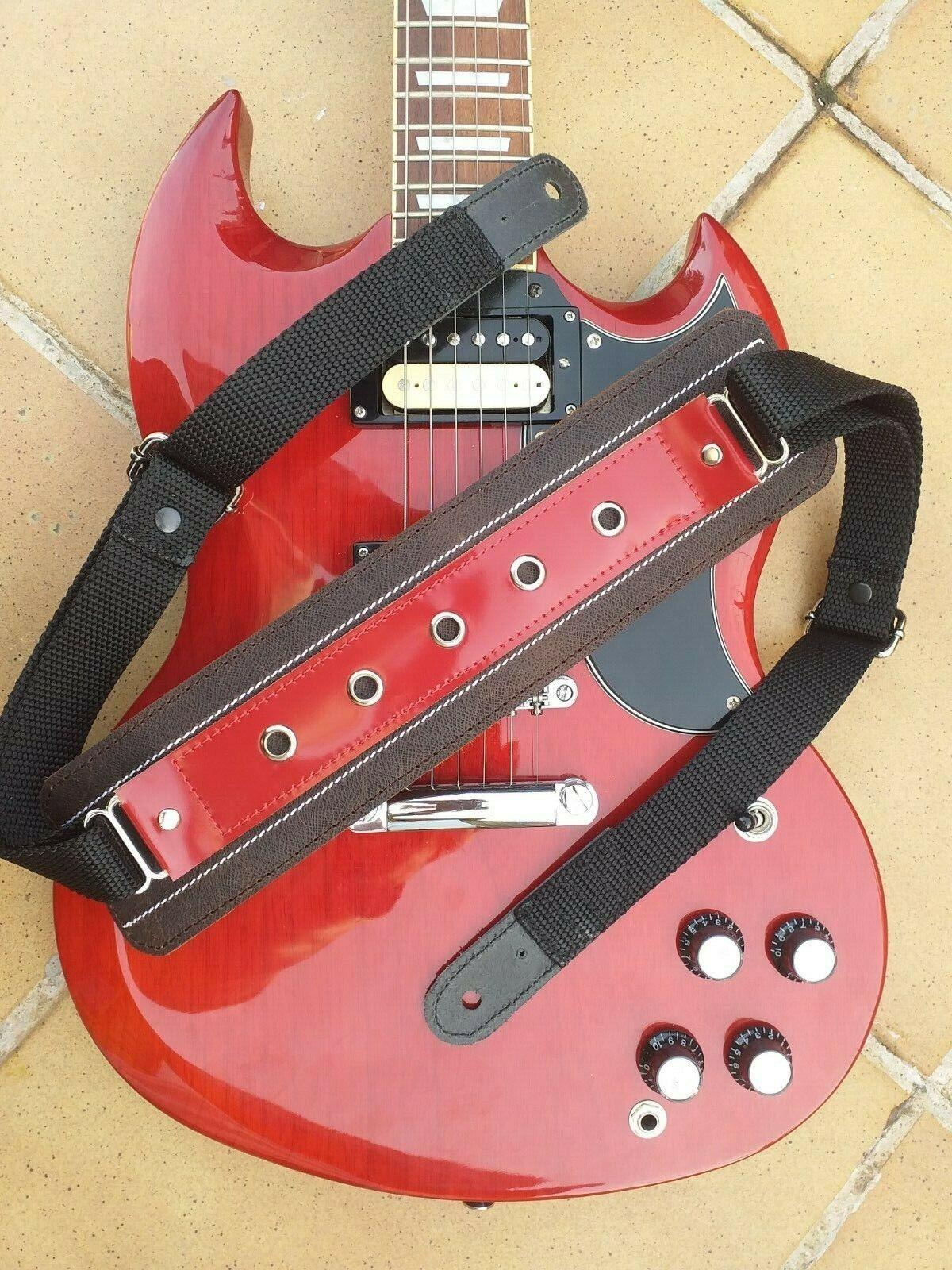 Pardo Guitar Strap Big rot  Shoulder 3   Wide Hippie Patern Leather Bass B217US
