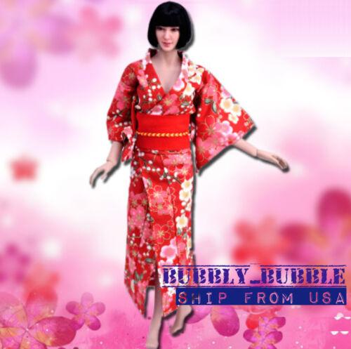 1/6 Women Kimono Dress Japanese RED For 12 Phicen Hot Toys Female SHIP FROM USA