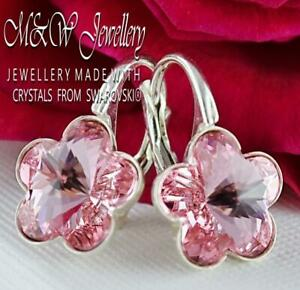 925-Sterling-Silver-Earrings-Crystals-from-Swarovski-10mm-FLOWER-Light-Rose-F