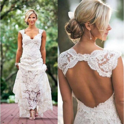 2018 Wedding Dresses V-neck Keyhole Back A Line Vintage Custom Made Bridal Gowns