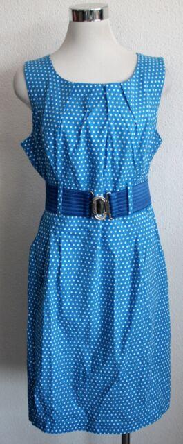 Lien & Giel Kleid Dot blau Gr. L XL Etuikleid Gürtel gepunktet Punkte Retro V407