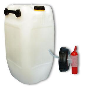 60 liter kanister natur mit deckel plastik zubeh r ein zapfhahn aft hahn din 71 ebay. Black Bedroom Furniture Sets. Home Design Ideas