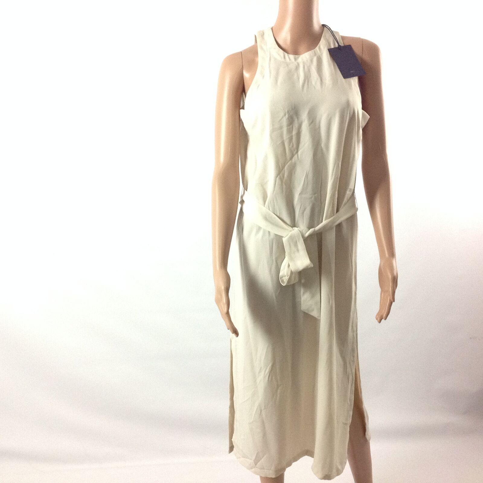 Stelen F35 Womens Semi Sheer Dress Sleeveless Belted Side Slits Beige Size S NWT
