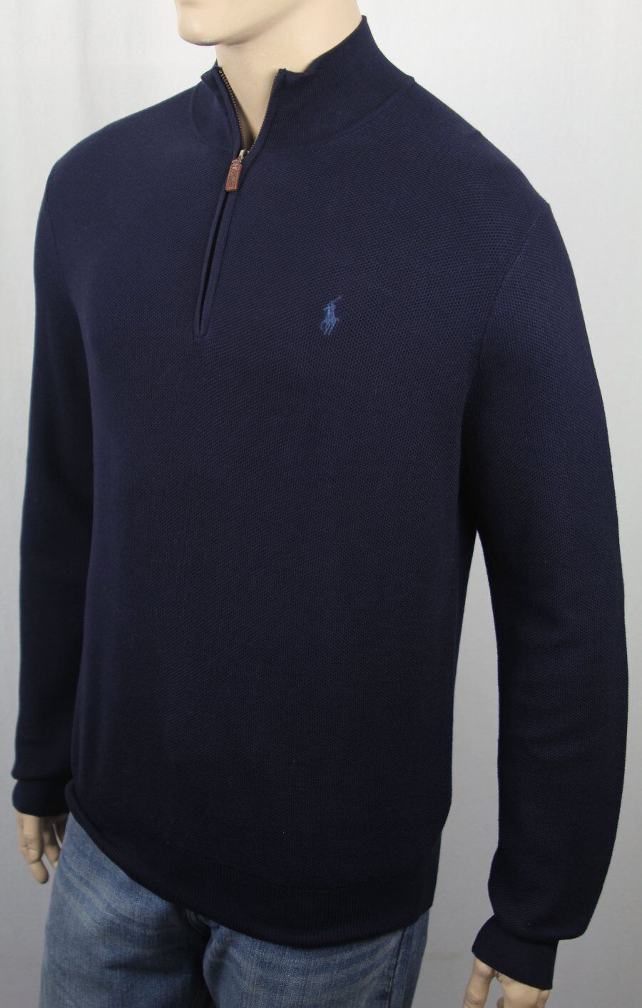 Polo Ralph Lauren Navy bluee 1 2 Half Zip Mesh Sweater bluee Pony NWT