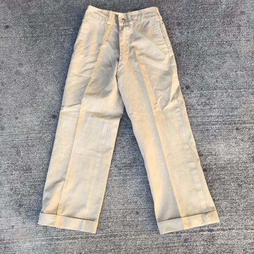 VINTAGE MILITARY KHAKI CHINO PANTS size 22 X 22 19