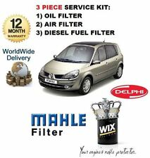 FOR RENAULT GRAND SCENIC 1.5DCi  2/2004-7/2006 OIL AIR FUEL FILTER SERVICE KIT