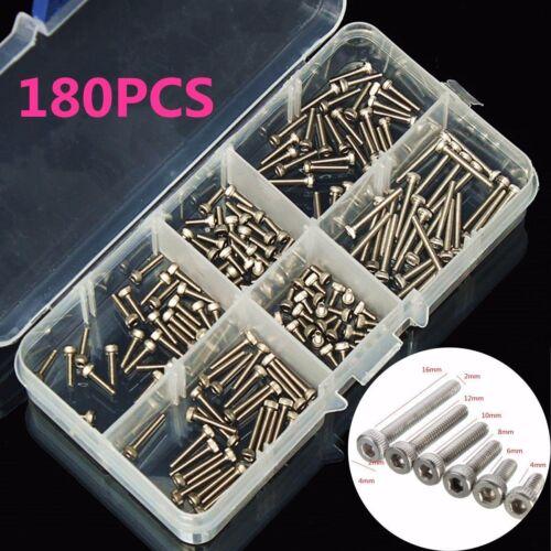 180pcs Stainless Steel Hex Socket Head Cap Screw M2 Qty Accessories Kit M2×16mm