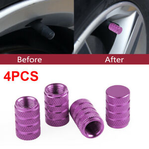 4 Pcs car Purple Aluminum Tire Wheel Rims Stem Air Valve Caps Tyre Cover Car
