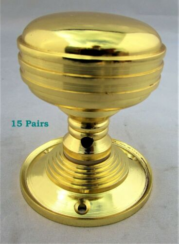 FREE /& FAST DELIVERY D1 1-15 PAIRS BRASS INTERIOR Reeded Door Knob Sets