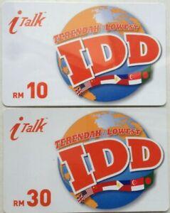 Malaysia Used i Talk Phone Cards - 2 pcs i Talk Lowest IDD (Thin Soft card)