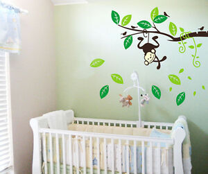 Swing-monkey-Tree-Branch-Art-Removable-Vinyl-Wall-Stickers-kids-Nursery-Decor