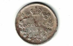 CANADA-1894-FIVE-CENTS-SMALL-NICKEL-QUEEN-VICTORIA-STERLING-SILVER-COIN