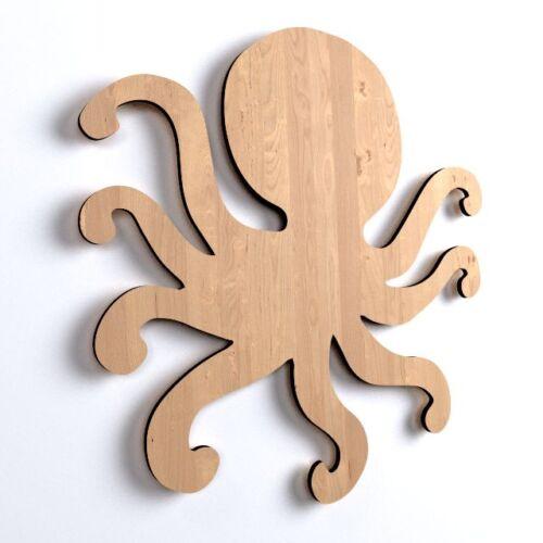 V34 10x De Madera Octopus Placa forma Plain Etiqueta En Blanco Colgante Decoración