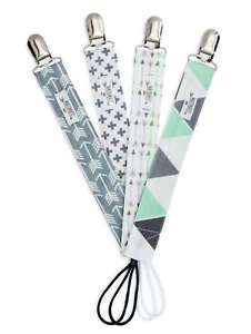 4-Pk-Pacifier-Clips-Neutral-Boy-Girl-Baby-Modern-Designs-Arrows-Triangles