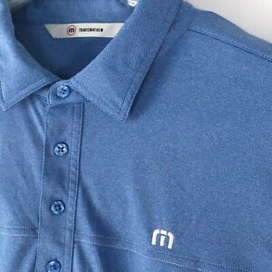 Mens-Travis-Mathew-Golf-Polo-Shirt-Blue-Short-Sleeve-Size-Large-Tournament-Club