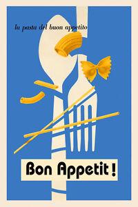 Bon Appetit Pasta Food Italian Restaurant Italy Vintage Poster Repro Free S H Ebay