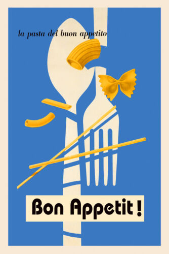 Bon Appetit Pasta Food Italian Restaurant Italy Vintage Poster Repro FREE S//H