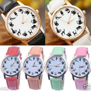 Women-Casual-Watch-Cat-Leather-Band-Stainless-Steel-Analog-Quartz-Wrist-Watches