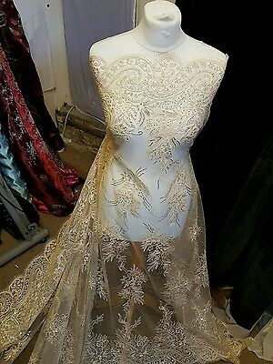 """1M new gold BRIDAL SCALLOPED LACE EMBRIOUDED SEQUIN FABRIC 58"""" WIDE"""