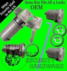 GM-OEM-Ignition-Door-Trunk-Keyed-Alike-Lock-Cylinder-Tumbler-Barrel-Set-2-Keys