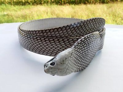 Mens Rare and Unique Cobra Head Cobra Snake Skin Leather Belt