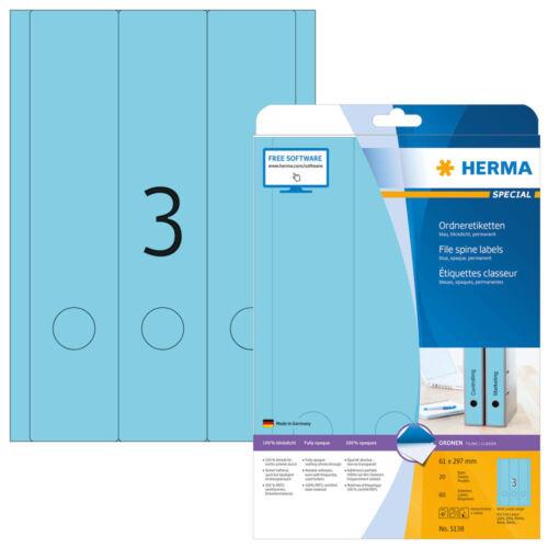 60 HERMA Ordneretiketten 5138 blau für 7,0-8,0 cm Rückenbreite