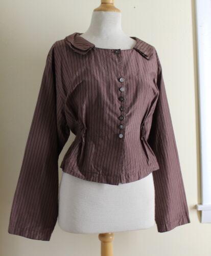 Krista Larson Brown Silk Pinstriped Vintage Jacket