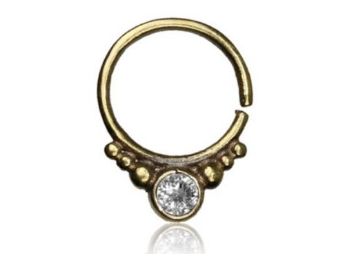 16G BRASS HANGING SEPTUM CLEAR CZ STONE SMALL 9MM RING DIAMETER NOSE HOOP