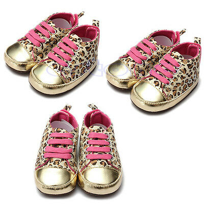 Kids Baby Girls Infant Toddler Soft Sole Leopard Shoes Prewalker Sneakers Cribs