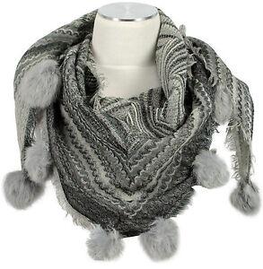 Dreieckstuch-Pashmina-Schal-100-Wolle-wool-Fell-Bommeln-Scarf-stole-fur-rabbit
