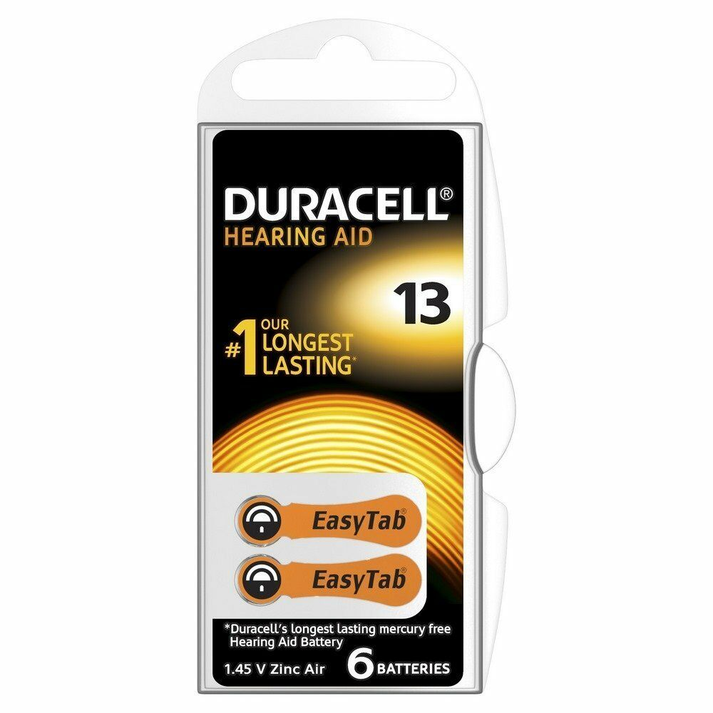 Pack of 60 Duracell 13 Hearing Aid Battery Orange Activair 1.45v PR48 Easytab