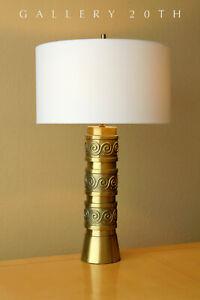 RARE-MID-CENTURY-MODERN-BRASS-TABLE-LAMP-RETRO-GOLD-VTG-50-039-S-60-039-S-ATOMIC-RETRO