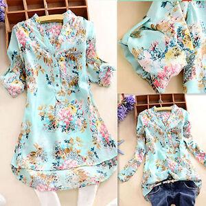 US-S-5XL-Women-Floral-V-Neck-Long-Short-Sleeve-Casual-Top-T-Shirt-Blouse-Elegant
