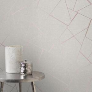 Quarz-Stein-Rotgold-Geometrische-Tapeten-Fraktal-Design-mit-Glitzer-FD42282