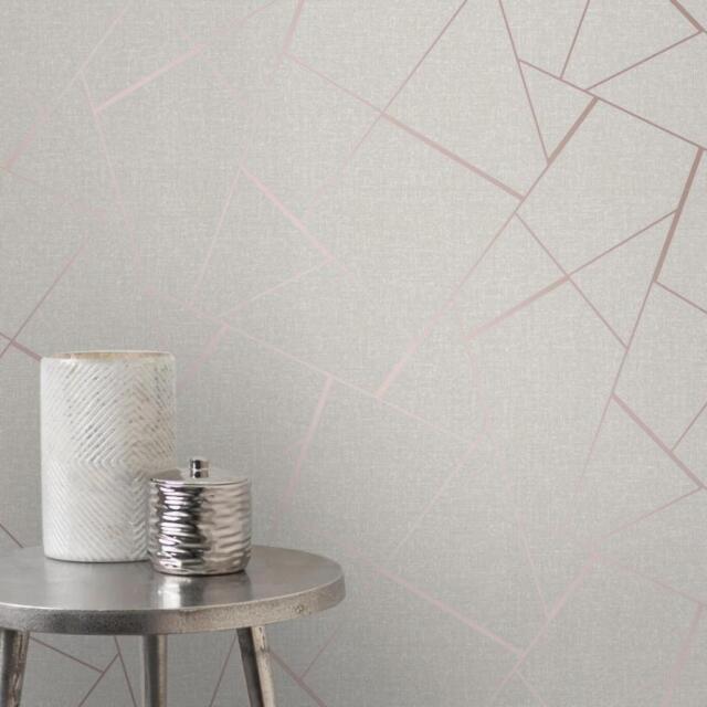 Rotgold Rosa Grau Tapete Streifen Geometrisch Damast Marmor Sterne Metallisch
