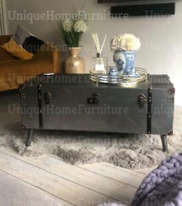 Industrial Coffee Table Metal Vintage Blanket Large Storage Box Old Trunk Chest Ebay