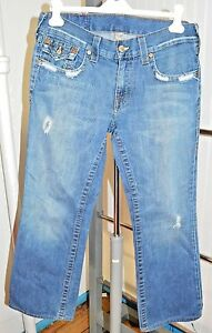 True-Religion-Men-039-s-BILLY-Distressed-Denim-Jeans-Size-32-x-33