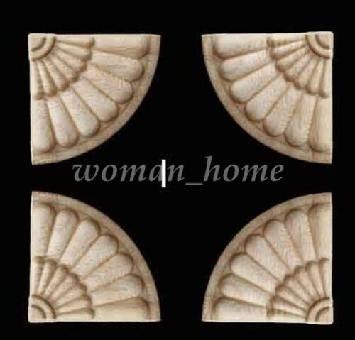 Unpainted Wood Craft Carved Corner Onlay Applique Frame DIY Home Furniture Decor