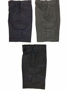School Uniform Ages 2-16 Years Black Grey Adjustable Waist Boys Cargo Shorts