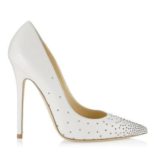 JIMMY CHOO  ANOUK    Blanc Clous Cour Talons Escarpins Stiletto Chaussures Taille UK 4 EU 37 9424df