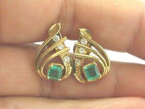 Colombian-Green-Emerald-amp-Diamond-Pear-Shape-Drop-Earrings-2-10Ct-18kt-YG-18-5mm